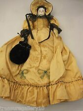 Antique China Doll with original Turquoise Beaded Lace Clothing & Bonnet & Purse