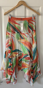 ANTHROPOLOGIE BL-NK RED BRIGHT PRINT MIDI SKIRT XS EXTRA SMALL NEW