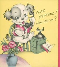 Anthropomorphic Puppy Dog Vintage Greeting Card March 1944 Buzza Minneapolis