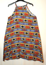 BLUE ORANGE BLACK LADIES CASUAL TUNIC DRESS GEOMETRIC SIZE 12 ATMOSPHERE