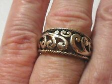 Scroll Ring Wave Size 9.25 Vintage Sterling Silver Gold Tone
