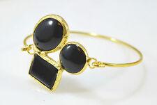 Ottoman Gems semi precious stone gold bracelet  bangle cuff Onyx Handmade