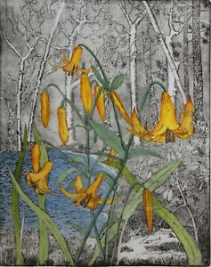 STEVEN WITHERSPOON-Canadian Artist-Hand Signed LIM.ED Etching-Canada Lilies