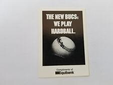Pittsburgh Pirates 1986 MLB Baseball Pocket Schedule - Equibank