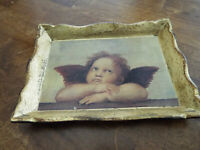 VTG SEZZATINI SMALL WOOD TRAY HAND PAINTED ANGELS CHERUBS