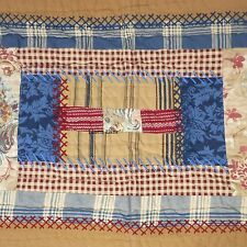 CREMIEUX QUEEN Quilt Set 3pc Rustic Patchwork Denim Country Red Blue Floral NWT