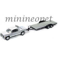 JOHNNY LIGHTNING JLCP7088 B 1996 DODGE RAM & CAR FLATBED TRAILER 1/64 WHITE SI