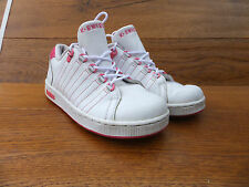 Kids K Swiss Tongue Twister White Leather  Trainers Size UK 2 EUR 34