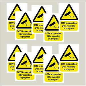 10 Screen Printed Warning CCTV camera stickers decals 50mm x 70mm Free delivery
