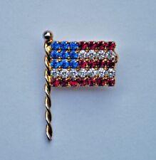 Pin Brooch Eisenberg Inc Patriotic Lapel 4th of July American Flag Rhinestone