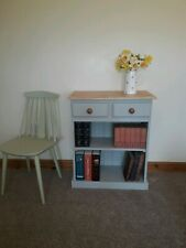 SOLID PINE BOOKCASE IN FARROW AND BALL LAMPROOM GREY.
