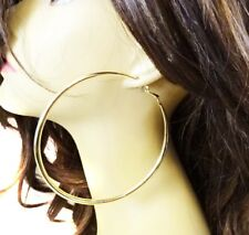 LARGE HOOP EARRINGS 2.75 INCH HOOPS SHINY GOLD OR SILVER TONE ROUND TUBE HOOPS