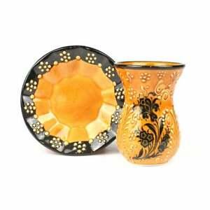 Traditional Turkish Handmade Ceramic Fine Service Tea Cups and Plates Set of 6