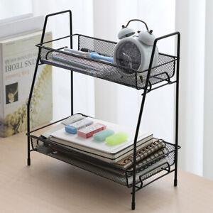 2 Tier Metal Kitchen Rack Pantry Storage Wire Shelf Food Organizer Basket Tray