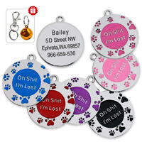 """Personalised Dog Cat ID Tag """"Oh Shit,I'm Lost"""" Design Paw Print Engraved Free"""