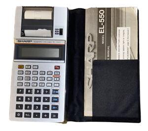 VERY RARE Vintage Printer Scientific Calculator Sharp EL-550 w/Case Manual Works