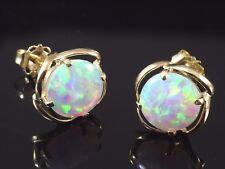 585 Gold Ohrstecker 1 Paar  Zirkonia Opal  Gelbgold 9 mm Ohrringe