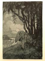 MAURICE DE BECQUE Gravure Eau Forte Art Deco 1930 loup wolf  mowgli