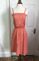Laura Ashley Vintage Dress Wales Size 8 Coral Red/Orange Ditsy Cottagecore 1970s