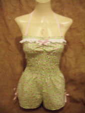 Mint green floral halterneck playsuit!1940's 1950's,rockabilly,pin-up,vintage