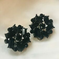 Vintage Black Rhinestone Flower Silvertone Clip Earrings – 7/8th's inches in
