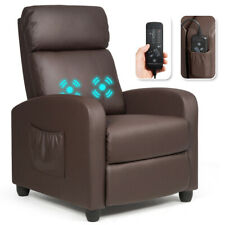 Massage Recliner Chair Single Sofa PU Leather Padded Seat w/ Footrest Brown