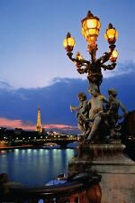 PARIS BRIDGE POSTER - 24x36 TRAVEL FRANCE EIFFEL TOWER 36502