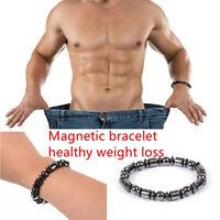 Biomagnetismo ronda pulsera de piedra negro magnético cuidado de la salud