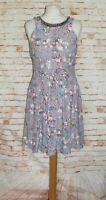 Oasis party dress size 10 sleeveless skater gathered jewelled neck grey floral