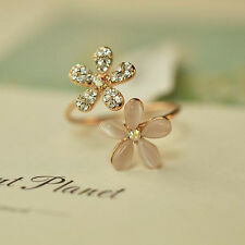 Women Fresh Crystal Gold Plated Opal Flower Ring Charm Jewelry Gift For Girl