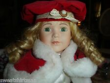 "Little Girl's 16"" Winter doll w Fancy Hat Shoes Dress & Gown BEAUTIFUL CLOTHES"