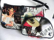 Vintage Style Designer Jeanne Lottie Purse Handbag with Make up Bag