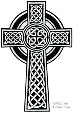 LARGE CELTIC CROSS iron-on PATCH embroidered IRISH CHRISTIAN RELIGIOUS EMBLEM