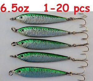 1- 20 pcs 6.5oz Mega Live Bait Metal Jigs  Saltwater Lures Green Mackerel