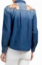 DRIFTWOOD Rose Denim Embroidered Penny Shirt, Size M. New.