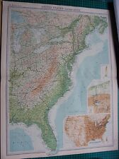 1922 LARGE ANTIQUE MAP- UNITED STATES-EASTERN SECTION