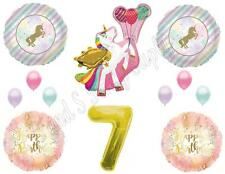WINGED UNICORN 7th Happy Birthday Party Balloons Decoration Pastel Gold Seventh