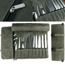 10 Slots Chef Knife canvas Roll Storage Bag Portable Kitchen Cooking Tools Case