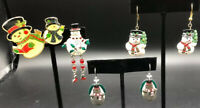 Lot of 5 vintage snowman 2 earrings And 3 pins