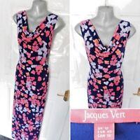 ❤ JACQUES VERT Size 12 Navy Blue Pink Orange Lilac Floral Stretch Occasion Dress