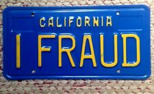 1970s-80s CALIFORNIA BLUE VANITY PERSONALIZED LICENSE PLATE I FRAUD DECEIT SCAM