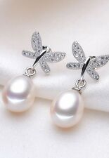 Stylish Freshwater Pearl Earrings 925 sterling silver dragonfly butterfly white