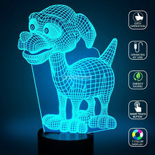 Dog Puppy 3D Illusions 7 Color Change Night Light Desk Table LED Art Lamp Gifts