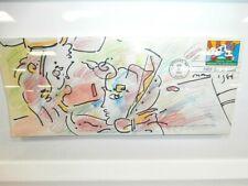 "PETER MAX ""Profile"" Envelope w/ Cosmic Runner- Expo 74 signed watercolor! w/ COA"
