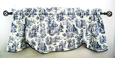 Valance Curtain Navy Blue Waverly Rustic Toile Scallop Piping French Country New