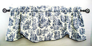 Valance Toile Curtain Navy Blue Waverly Rustic Scallop Piping French Country
