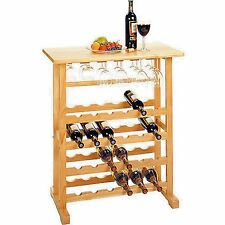 24 Bottle Wine Rack Table Storage Wood Glass Holder Kitchen Standing Furniture