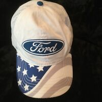 FORD Snapback Mesh Trucker Hat Patch Cap Made USA Stars Stripes Bill