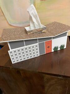 Retro Butterfly House Mid Century Tissue Kleenex Box Holder Cover MCM PSP