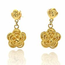 18K Yellow Gold Flower Dangling Earring 4.3 Grams